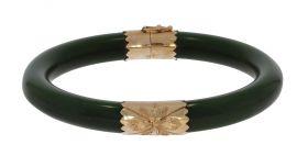 Jade slavenarmband met 14 karaats gouden monturen