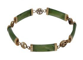 Vintage Jade armband met rose gouden monturen