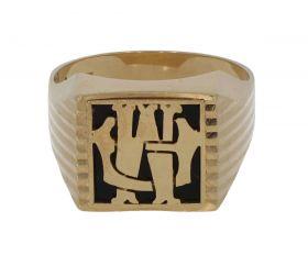 14 karaats gouden Vintage heren zegelring monogram onyx
