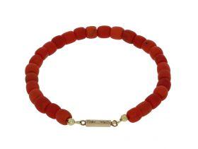 Bloedkoralen kaasjes armband 14 karaats gouden slot