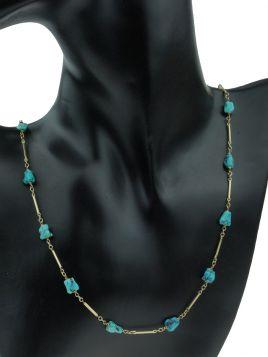 14 karaats gouden staafjes ketting met Turkoois stenen