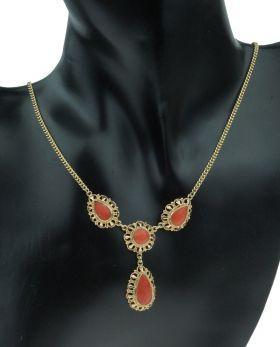14 karaats gouden gourmet ketting met bloedkoraal pampel hanger