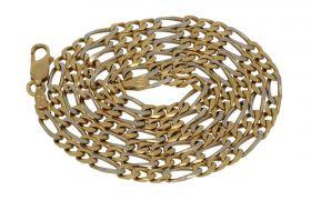 18 karaats gouden bicolor heren Figaro schakel ketting