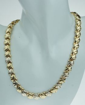 Luxe 14 karaats gouden bicolor dames ketting / choker