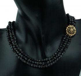 Antiek granaten kinder collier aan gouden sluiting