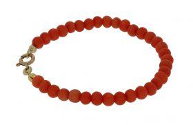 Bloedkoraal meisjes armband 14 karaats gouden slot