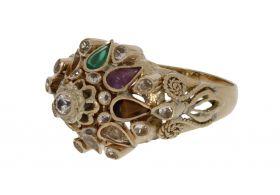 14 karaats gouden fantasie ring met diverse edelstenen