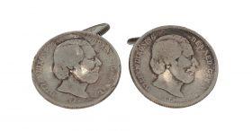 Antiek zilveren munt manchetknopen Willem III en Wilhelmina