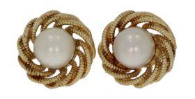 14 karaats gouden bewerkte Vintage oorbellen met parel