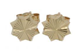 14 karaats gouden oorstekers met bewerkt motief