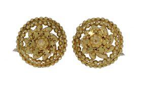 Antieke 14 karaats gouden oorbellen met zilveren sluiting