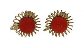 Antiek 14 karaats gouden set oorschroeven met bloedkoraal