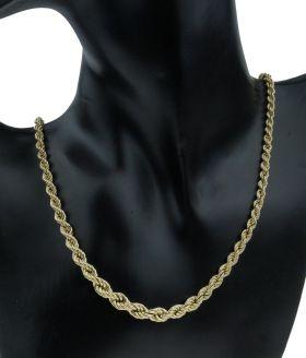 14 karaats gouden koordschakel dames ketting - oplopend model-