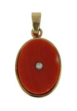 18 karaats gouden bloedkoraal ketting hanger diamant