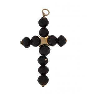 Antieke 14 karaats gouden kruis hanger met granaten