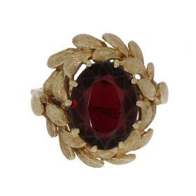 14 karaats gouden Vintage ring met granaat in lauwerkrans omlijsting