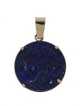 Unieke 14 karaats gouden Lapis Lazuli hanger portret vrouw