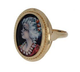 14 karaats gouden dames ring met Limoges emaille portret