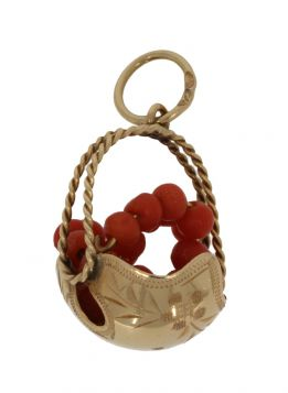 Unieke 18 karaats gouden mand hanger met bloedkoralen