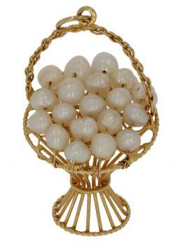 Unieke 18 karaats gouden bloemenmand hanger met parels