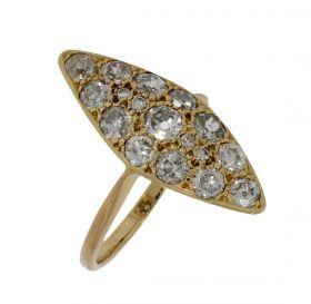 18 karaats gouden markies ring volgezet met 17 diamanten 1,40ct