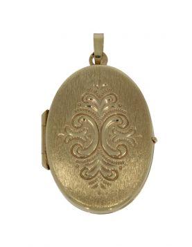 Fraaie 14 karaats gouden bewerkte foto medaillon hanger