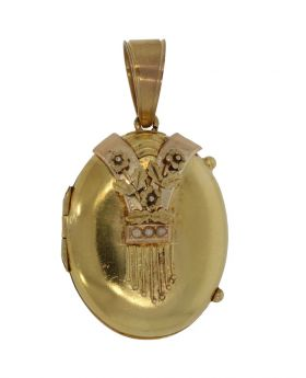 Antieke 14 karaats gouden bloem applique medaillon hanger
