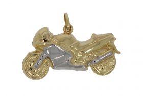 14 karaats gouden bicolor motor ketting hanger