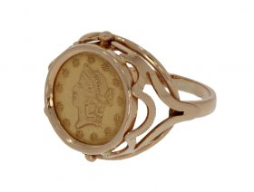Klassieke 14 karaats gouden munt ring 1 dollar USA 1853