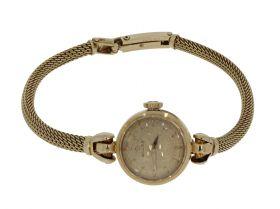 Gouden Vintage dames horloge Omega aan 14 karaats gouden band
