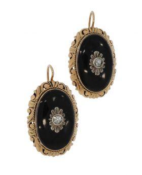 Antiek set gouden oorbellen met onyx en roosgeslepen diamanten