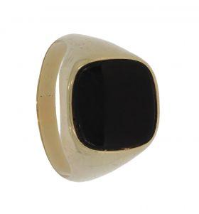 Klassieke 14 karaats gouden heren zegelring zwarte onyx