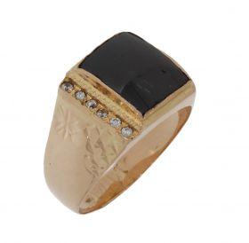 Klassieke gouden ring met onyx en zirkonia