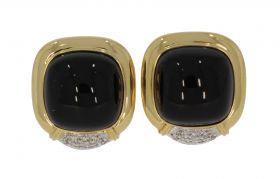 18 karaats gouden oorbellen met diamanten en onyx