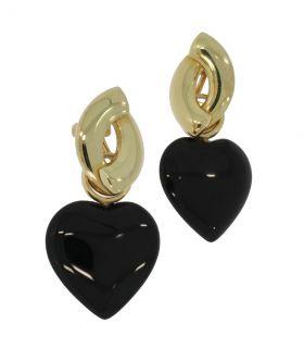 14 karaats gouden oorbellen met hartvormige onyx hangers