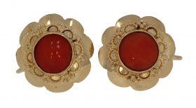 14 karaats gouden oorbellen bloedkoraal -schroefmodel-