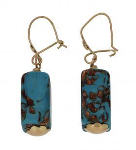Fraai antieke 14 karaats gouden geëmailleerde oorbellen
