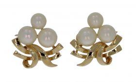 14 karaats gouden design oorbellen met zoetwaterparels
