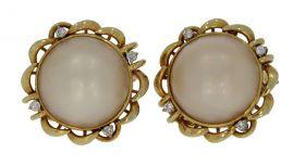 Grote 14 karaats gouden oorstekers diamant en Mabe parel