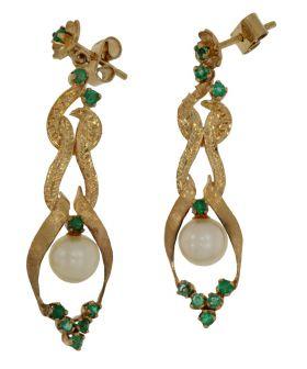 18 karaats gouden Vintage oorbellen parels en smaragd