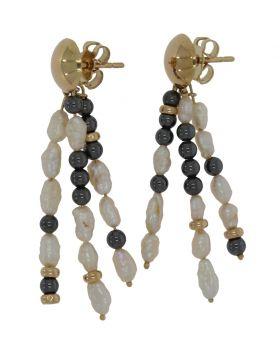 14 karaats gouden Vintage oorbellen met parels en hematiet