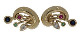 14 karaats gouden oorbellen met diamant, robijn, smaragd en saffier