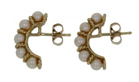 14 karaats gouden design oorbellen met Akoya parels