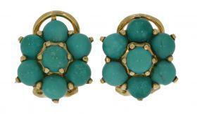 18 karaats gouden oorclips met Turkoois parels