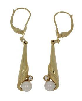 14 karaats gouden design oorbellen parel en zirkonia