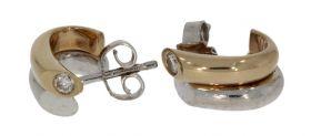 Fraai set 14 karaats gouden bicolor oorbellen met diamanten