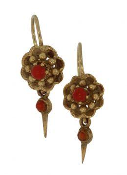 14 karaats gouden antieke bloedkoraal oorbellen met pampel