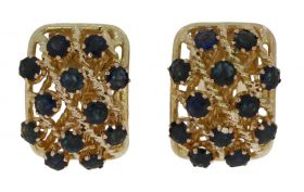 14 karaats gouden design oorbellen met saffieren