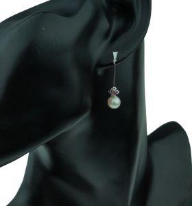 14 karaats witgouden oorbellen diamanten parel robijnen