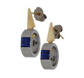 14 karaats gouden met stainless steel saffier design oorbellen